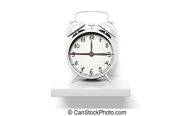 retro, reloj despertador de plata, blanco, pared, estante