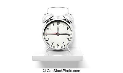retro, reloj despertador de plata, blanco, pared, estante