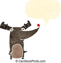 retro, renne, nez, rouges, dessin animé