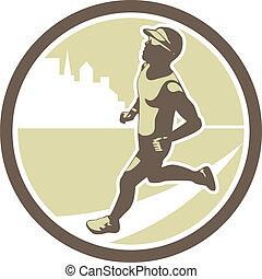 retro, rennender , kreis, triathlete, seite