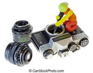 retro, reparera, av, en, gammal, kamera, begrepp