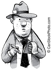 Retro Reporter - A cartoon of a retro newspaper reporter.