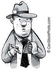 Retro Reporter - A cartoon of a retro newspaper reporter.