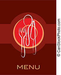 retro restaurant menu design with fork, knife and spoon