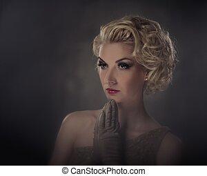 retro, retrato mulher