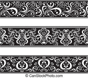 set of borders with scroll ornaments in vector format very easy to edit, individual objects