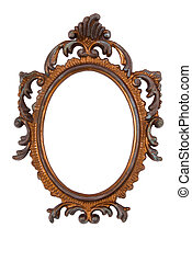 Old Ovall Picture Frame on white background
