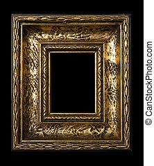 Retro Revival Old Frame - Old Gold Picture Frame on black ...