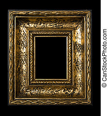 Old Gold Picture Frame on black background