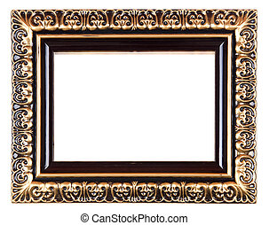 Old Gold Picture Frame on white background