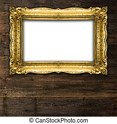 Retro Revival Old Gold Picture Frame on dark wood background