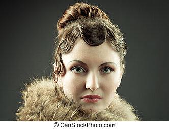 Woman retro revival vintage portrait.