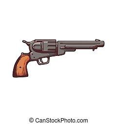 Retro revolver or cowboy gun cartoon icon, sketch vector ...