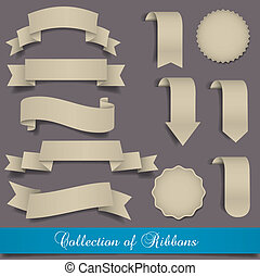 Retro ribbons and labels. Vector set