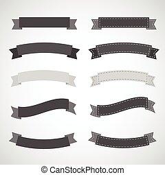 retro ribbons black and white set