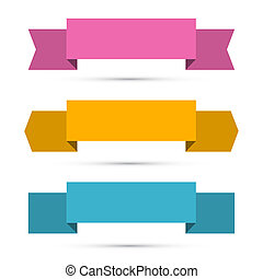 Retro Ribbons, Labels, Tags Set Isolated on White Background
