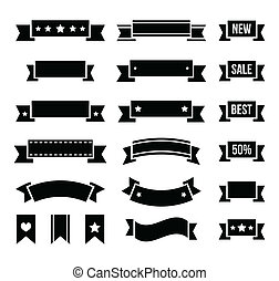 Styled as old ribbons labels set isolated on white