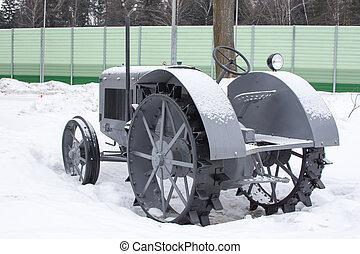 Retro road equipment. Winter Landcape