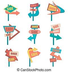Retro road signs. Vintage billboard set. Vector illustration