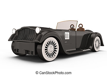 retro roadster car isolated on white background. 3d rendered...