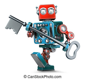Retro robot holding a big antique key in his hands. Isolated. Contains clipping path