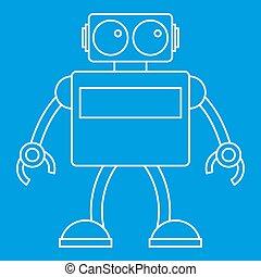 Retro robot icon, outline style