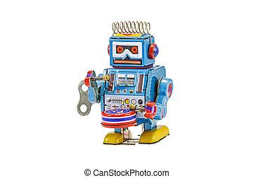 retro, robot, isolé, jouets