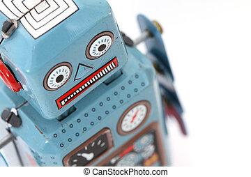 retro, robot, játékszer