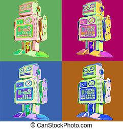retro, robot, klapen kunst, stijl