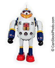 retro robot on white