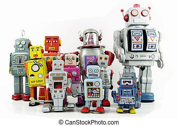 robot - retro robot toy group