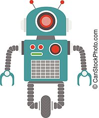 Retro robot vector illustration. Green android on wheel