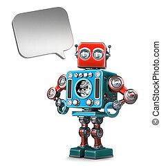 retro, roboter, mit, sprechblase