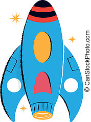 Retro Rocket Children's Illustration