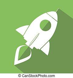 Retro Rocket Green Icon. Flat Style