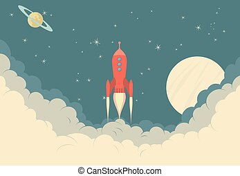 Retro Rocket Spaceship - Illustration of Spaceship taking...
