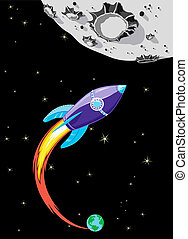 Illustration of Spaceship heading towards the Moon drawn in a comic book style