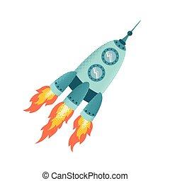 Retro rocket vector illustration