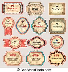 retro, rocznik wina, etykiety