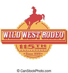 retro, rocznik wina, rodeo, znak, chwyćcie sztukę