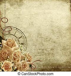 retro, rocznik wina, romantyk, tło, z, róże, i, zegar
