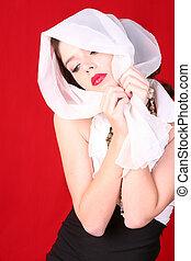 retro, rocznik wina, styl, kobieta z szalikiem, na, jej, głowa