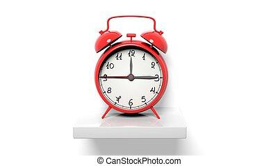 retro, rojo, despertador, blanco, pared, estante