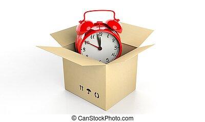 retro, rojo, despertador, en, cartón, caja, aislado, blanco, fondo.