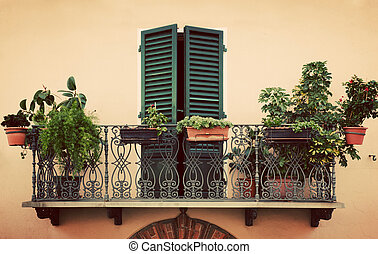 Retro romantic balcony with plants and flowers in pots. Window with green shutter. Old Italian house in a small town of Pienza, Italy. Vintage