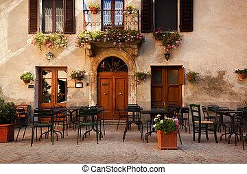 retro, romantique, restaurant, café, dans, a, petit, italien, town., vendange, italie