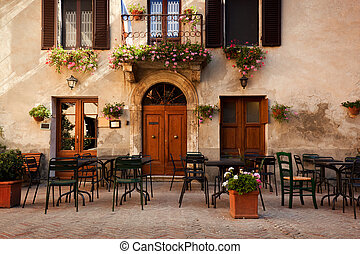 retro, romantische , gasthaus, café, in, a, klein, italienesche, town., weinlese, italien