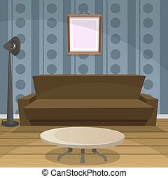 Retro Room Blue - Retro lifestyle room, cartoon design,...