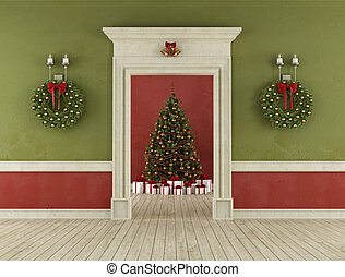 Retro room with christmas tree