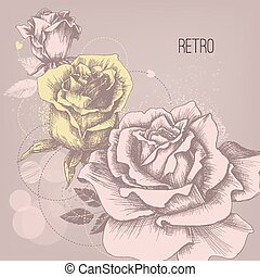 Retro rose background greeting card